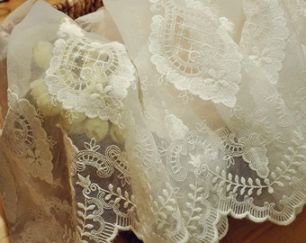 Embroidery Lace Trim in Ivory with Vintage Style Victoria Pattern