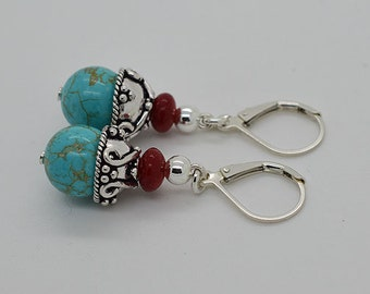 Turquoise And Red Coral Sterling Silver Lever Back Earrings 04