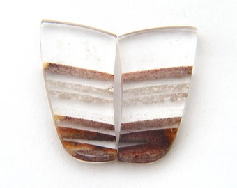 Zebra Quartz Designer Cabochon Gemstone Pair 16.6x27.8x5.3 mm Free Shipping