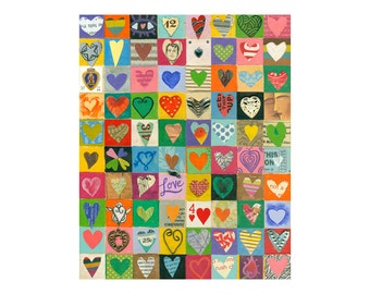 8x10 PRINT, 80 mixed media hearts collage, by Elizabeth Rosen