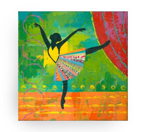 ORIGINAL 12x12 PAINTING, Black Ballerina, Dancer, impasto,  art of dance, by Elizabeth Rosen
