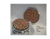 Traditional Holiday Compact Pill box Set silver red green ivory gold handmade polymer clay