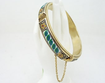 Vintage Cuff Bangle Bracelet with Safe Chain, Vintage jewelry, Costume Jewelry, Gold Tone Metal, UK Seller