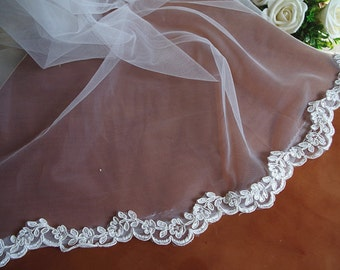 ivory Lace Trim, alencon lace, scalloped lace trim with small flowers