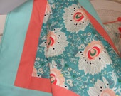 Baby Bedding Crib Blanket Nursery Blanket Coral Peach Mint Aqua Floral Rapture