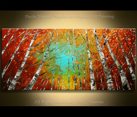 """Oil Painting Birch Trees Abstract Contemporary Oil Palette Knife Texture  by Paula Nizamas 48"""" x 24"""""""