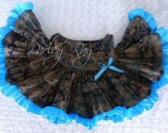 Parley Ray Navy, MARPAT, ABU, ACU or Multicam Digital Camo Ultimate Twirling Skirt Army Girl Military