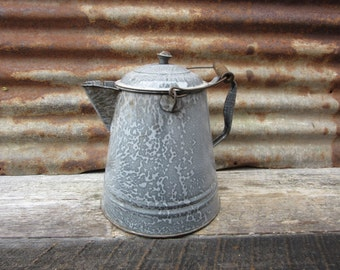 Large Antique Graniteware Coffee Pot or Tea Pot Gray Enamelware Country Kitchen Vintage Cookware Cooking Rustic Cabin Camping Primitive vtg