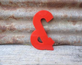 Letter Sign Vintage 8 Inch Ampersand Symbol  Sign Red Simple Font Plastic Sign Display Marquee Alphabet vtg Letters Wall Art Pop Art Retro