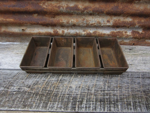 Antique Metal Bakery Bread Pan 4 Loaves Industrial Baking