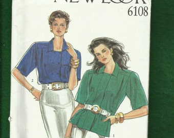 New Look 6108 Narrow Double Breasted Shirts with Deep Cut Short Sleeves Sizes 8 to 18 UNCUT