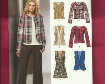 New Look 6853 Slimming Princess Seam Jackets & Vests Trimmed to Your Delight Size 10 to 22 UNCUT