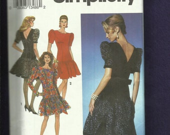 Simplicity 8175 Drop Waist Party Dresses with Puff Sleeves & V Back Neck Size 6..8..10 UNCUT