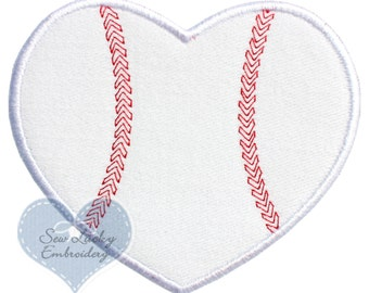Baseball or Softball Heart Applique Embroidered Patch , Sew or Iron on