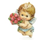 Cherub Pin Valentine's Day Vintage Hallmark Cards Plastic Lapel Brooch, Angel with Rose Bouquet