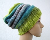 springy slouchy knit hat, rainbow colorful ribbed beanie, green, mint, turquoise stripes