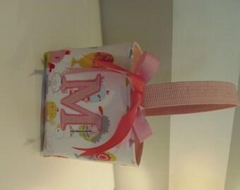 Monogrammed Easter Basket, kids personalized easter basket- White Bunny and Pink Dot