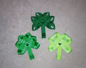 St. Patrick's Day green Shamrock hair clip