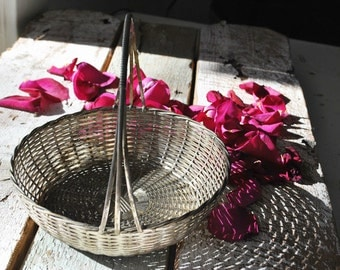 Vintage French Wire Baskets lovely Country French Decor, Vintage Silverplate, Photography Prop