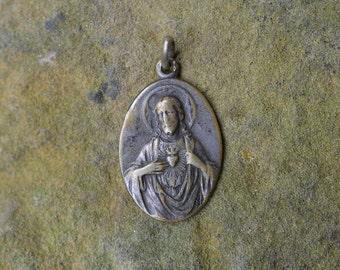 Vintage religious medal, Virgo Carmeli medal, Catholic gifts, Religious Jewelry, Patron Saints, Christian pendant