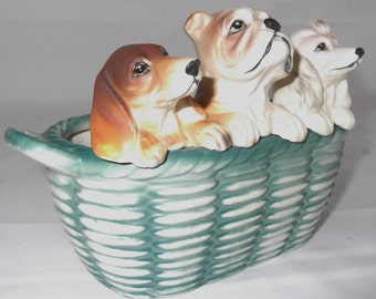Vintage Ceramic Dog Planter Basket Of Puppies Ceramic Planter / Bowl Vintage Victoria Ceramics Japan