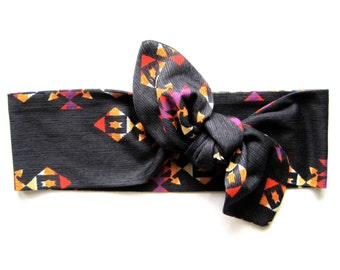 Dolly Bow, Head Wrap, Aztec Print, Wire Headband, Yoga Headband, Head Wrap, Teen Gift, Gift for Her, Under 15 Dollars, Ready to Ship