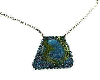 Vitreous Enamel Crochet Wire Blue Green Necklace by PrayerMonkey