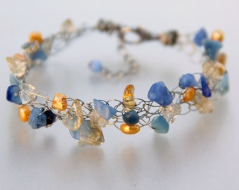 Chunky crocheted wiring pearl citrine bracelet Bridesmaids gifts Free US Shipping handmade Anni designs