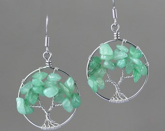 Sterling silver wiring  green jade tree of life earrings  Bridesmaid gifts Free US Shipping handmade Anni designs