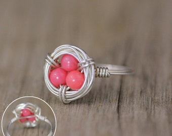Silver bird egg nest ring  Free US Shipping handmade anni designs