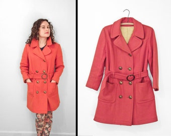 ORANGE Pea Coat 1960s Military Inspired Wool Belted Gold Sailor Buttons