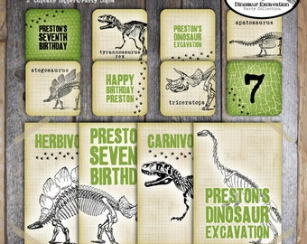 Dinosaur Excavation Party - Dino Dig Birthday Party -  Fossil - Complete Collection - Signs, Banner, Labels, Tags & More-Printable (Vintage)