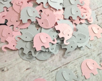 Elephant Baby Shower - CUSTOMIZE YOUR COLORS. Pink Elephant Confetti, Gray Elephant Confetti, Girl Elephant Baby Shower,  (100 Count)