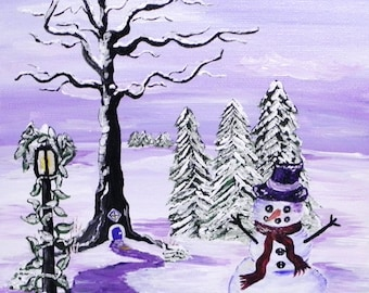 Snowman greeting card, purple, fantasy art, card, blank inside
