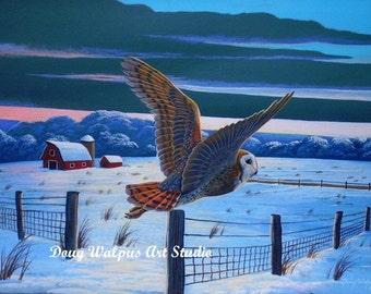 Barn Owl Print, Acrylic, Painting, Wildlife Art Print, Bird Print, Barn Owl, Snow Scene, Animal Wildlife, home decor, wall decor, gifts