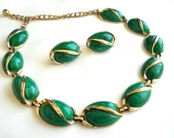 "Coro ""Cambridge"" Necklace & Earring Set Green Vintage Signed"