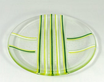 Fused Glass Bowl, Fused Glass Platter, Glass Bowl with Green Stripes