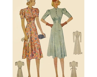 1930s Style Art Deco Dress Made from Vintage Pattern Custom Made in Your Size and Color