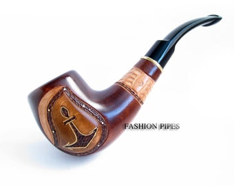 Exclusive Marine Pipe, Smoking Pipe/Pipes Wooden pipe for Real Tobacco Smokers, Tobacco Pipe Carving Handmade & Pouch Gift