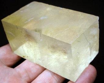 "Calcite/Iceland  Spar 176 gram 2"" x 1-3/8""  cubic yellow mineral specimen  Stunner"