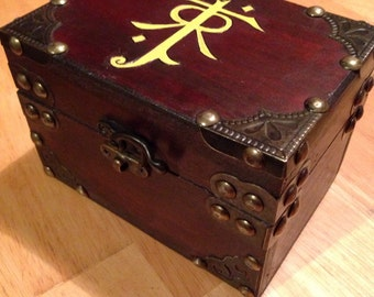 JRR Tolkien inspired MINI metal accented Keepsake Box jewelry chest - The Hobbit - Lord of the Rings box wood burned