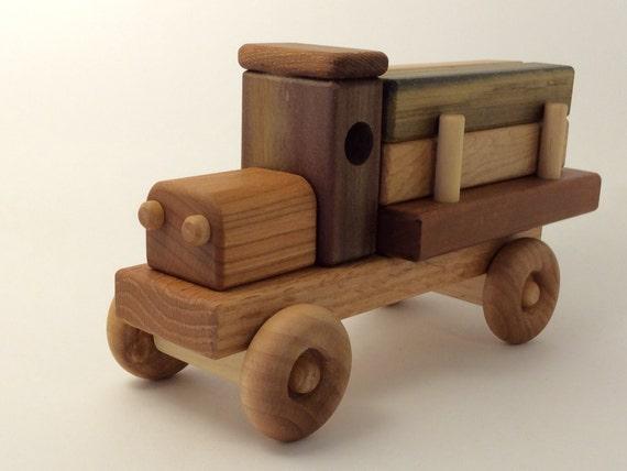 Handmade Wooden Toy Lumber Truck
