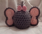 Baby Elephant Hat with Bow - Photo Prop - Crochet Knit - made to order