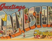 Linen Postcard, Greetings from Galveston, Texas, Beach, Large Letter, Curt Teich