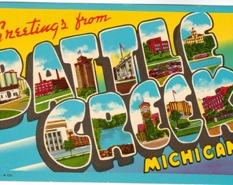 Linen Postcard, Greetings from Battle Creek, Michigan, Large Letter, ca 1950