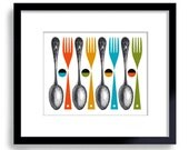 Kitchen Wall Art Mid Century Modern Decor Art Print Forks Spoons Contemporary Colorful Design Cooking Gift