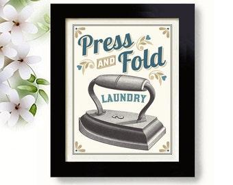Laundry Decor Wall Art Print Kitchen Art Iron Laundry Sign