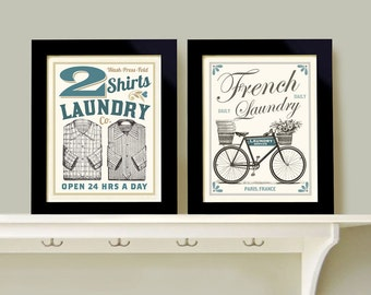 Laundry Room Decor Wall Art Print Grouping 2 prints French Laundry Bathroom Bicycle Art Clean Clothes Powder Room