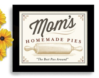 Kitchen Art Decor Print Rolling Pin Mom Baking Gift Homemade Pies Cakes Cooking Bakery Gift Wall Art Print Bakes Pies