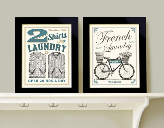 Home Decor Wall Groupings : Laundry room decor wall art print grouping prints french